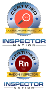 two badges with licensed home inspector and radon inspector
