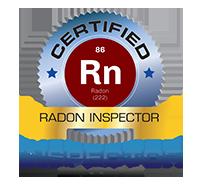 certified radon inspector badge with inspector nation logo