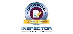 certified technical writer badge with inspector nation logo